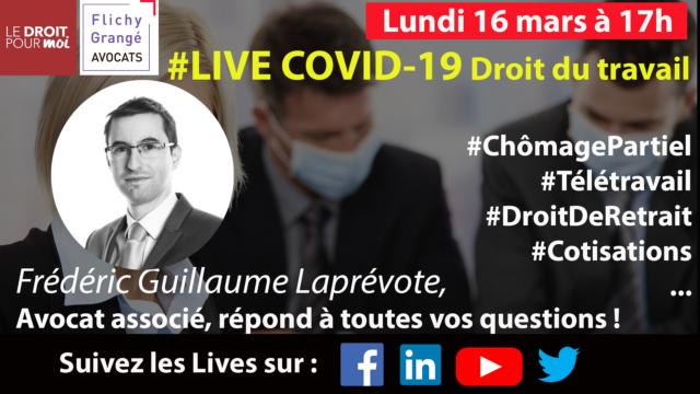 Live spécial Coronavirus avec Flichy Grangé Avocats le lundi 16 mars à 17h